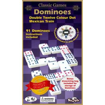 Shuffle Classic Coloured Dominoes Double 12 with Mexican Train