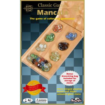 Shuffle Classic Folding Mancala with 48 Glass Marbles