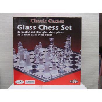 """Shuffle Classic 14"""" Glass Chess Set ( was RRP $39.99 )"""