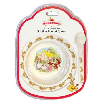 Bunnykins Suction Bowl & Spoon - Playing Design RED