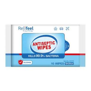 ReliFeel Antibacterial Wipes Travel 10pk ( ONLY SOLD in Carton of 100 )